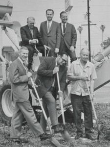 Black and White photo of early Ray Products team at the groundbreaking ceremony in the City of El Monte