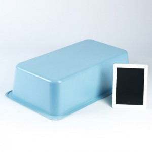 Blue Thermoformed Plastic Tub White Apple Tablet