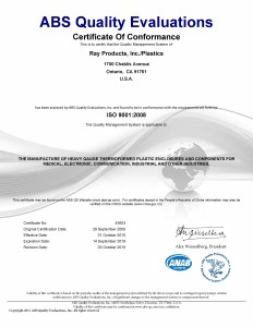 Ray Products ISO 9001:2008 Certification