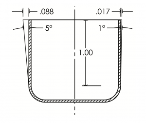 Illustration of acceptable draft angles in Thermoforming.