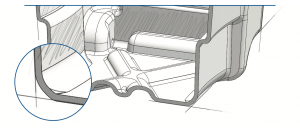 Illustration showing sharp angles in thermoforming.
