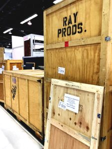 crate of ray products items for medical device manufacturing event