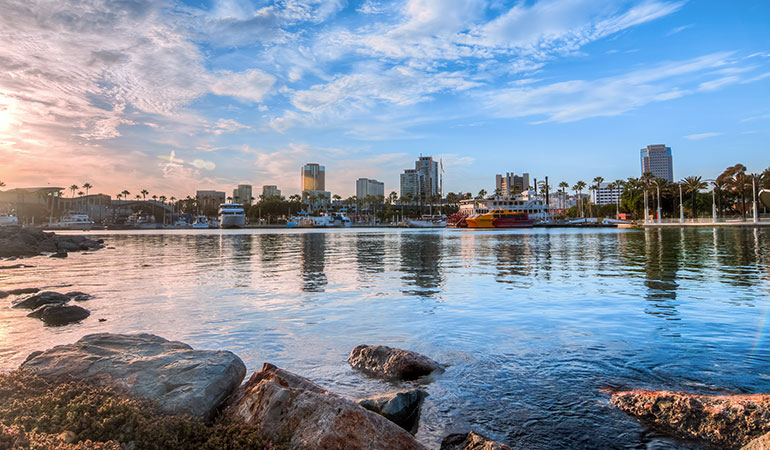 Long Beach, California skyline at sunset