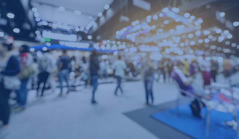 Abstract photo of a trade show convention floor